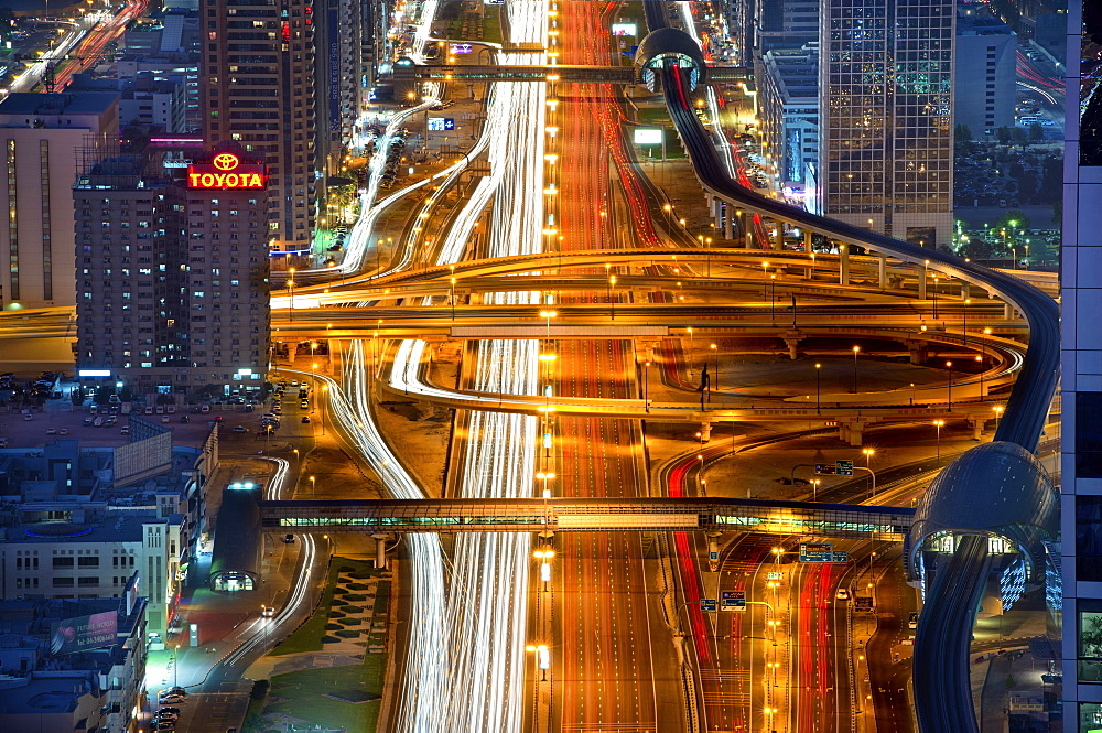 Aerial view of illuminated Sheikh Zayed Road in central Dubai, United Arab Emirates, Dubai, United Arab Emirates