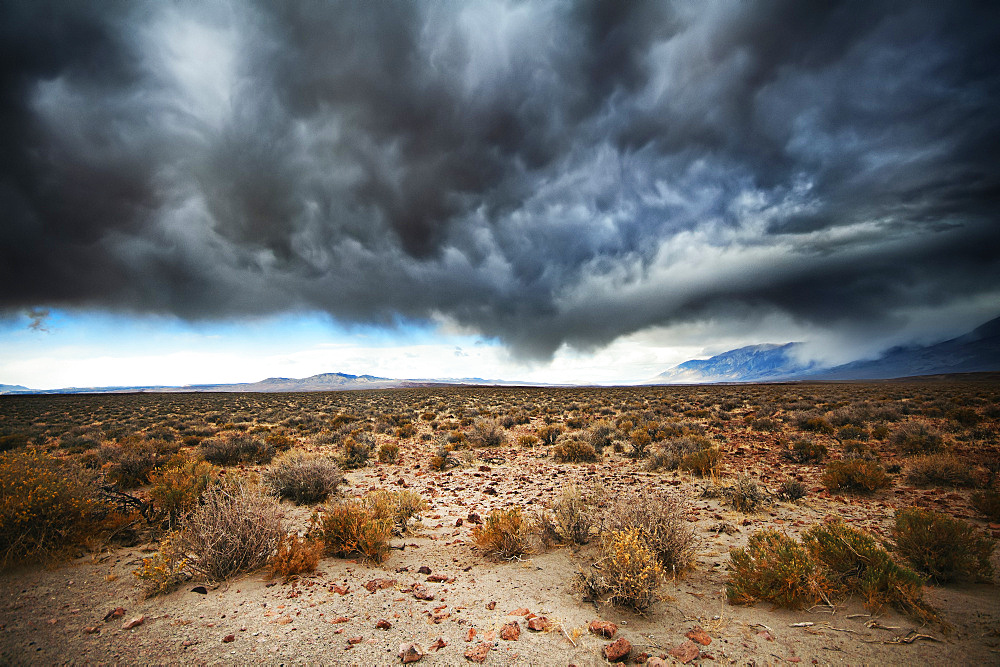 Desert landscape under a dramatic sky with grey and black storm clouds, United States of America
