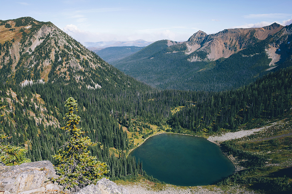 View of Hopkins Lake, near the Canadian border, Pasayten Wilderness, Washington, United States of America