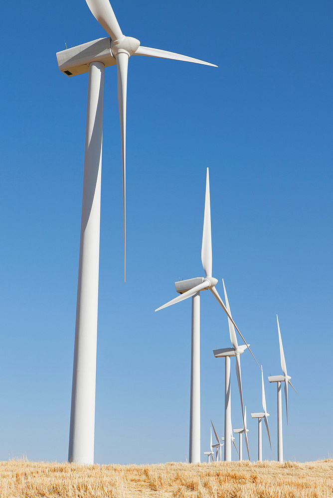 Tall wind turbines in open country farmland in Washington, United States of America - 1174-4540