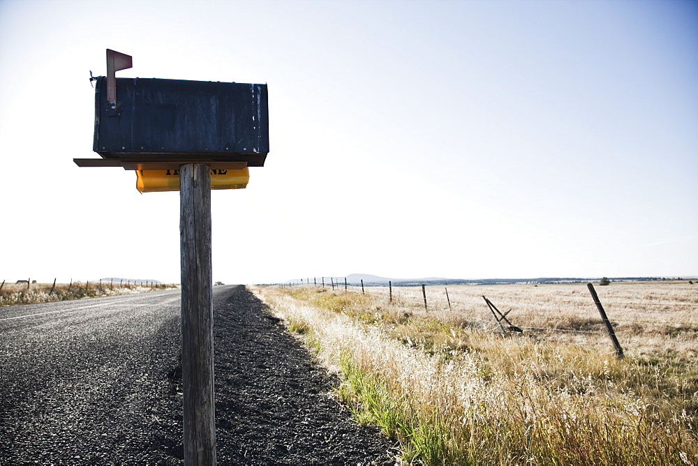 Mailbox on a country road in eastern Washington State, United States of America