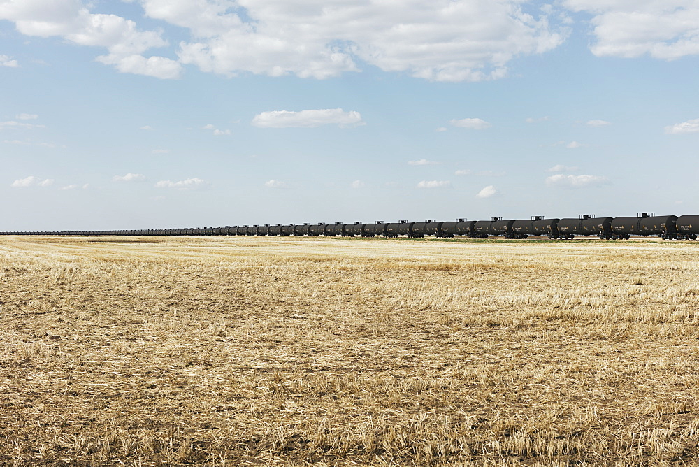 Oil train cars and fallow farmland, near Swift Current, Saskatchewan, Canada