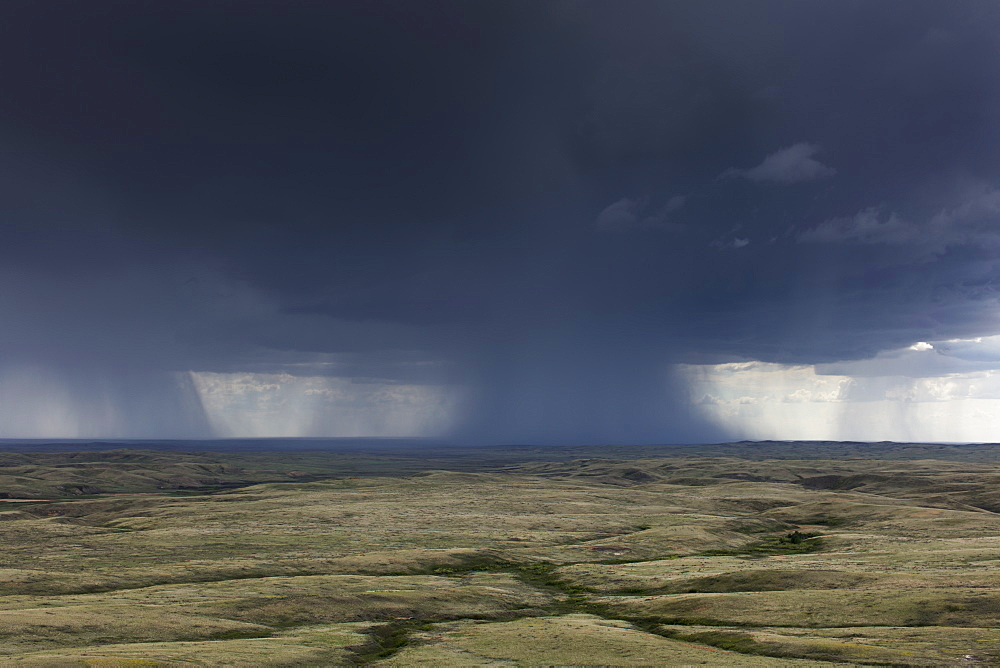 Dark storm clouds of over Grasslands National Park, Saskatchewan, Canada