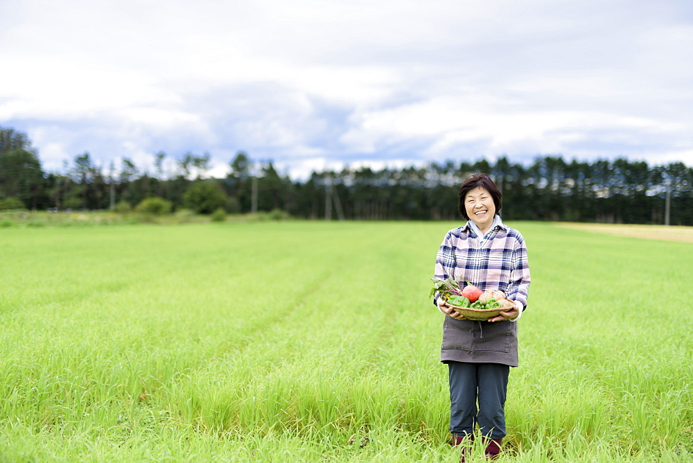 Woman with black hair wearing checkered shirt standing in a field, holding basket with fresh vegetables, smiling at camera, Japan