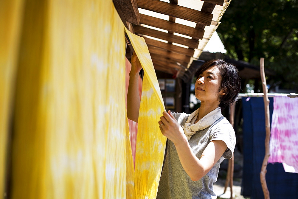 Japanese woman standing in a textile plant dye workshop, hanging up freshly dyed bright yellow fabric, Kyushu, Japan