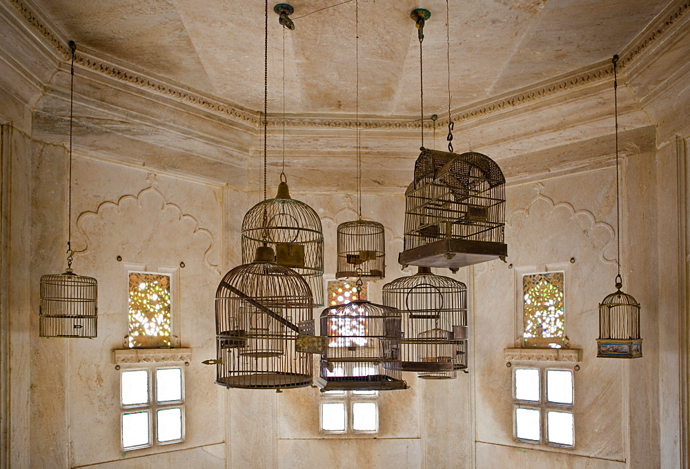 Empty Bird Cages in the City Palace, Udaipur, Rajasthan, India