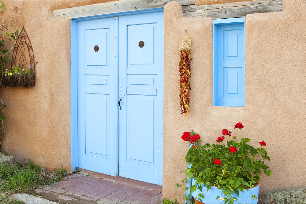 Doorway With Chili Peppers, Ranchos de Taos, New Mexico, United States of America