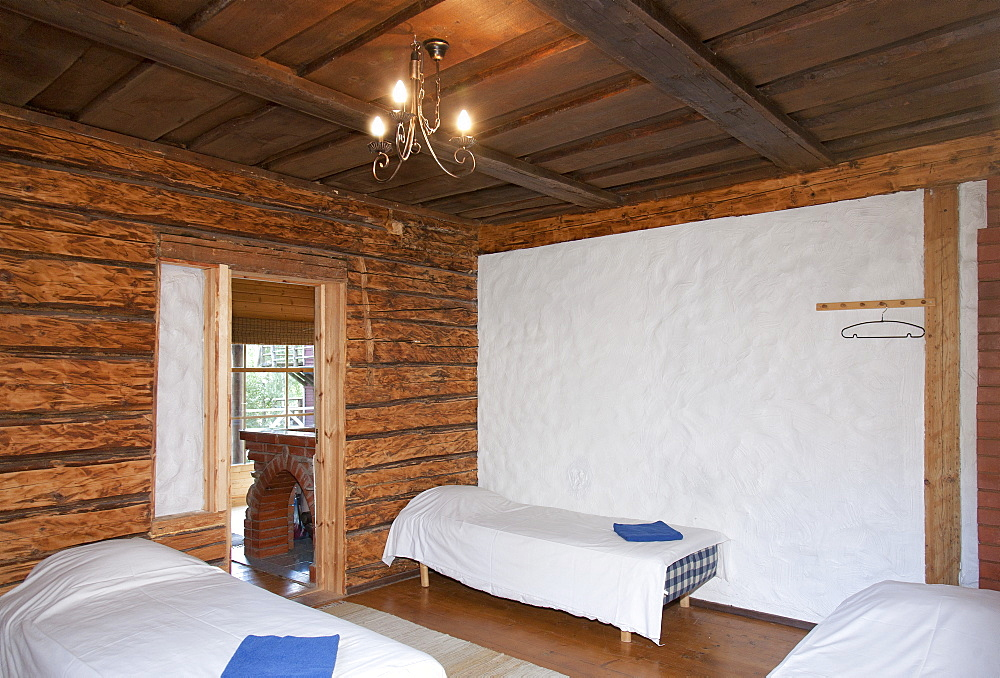 Beds in a Wooden Bedroom, Estonia