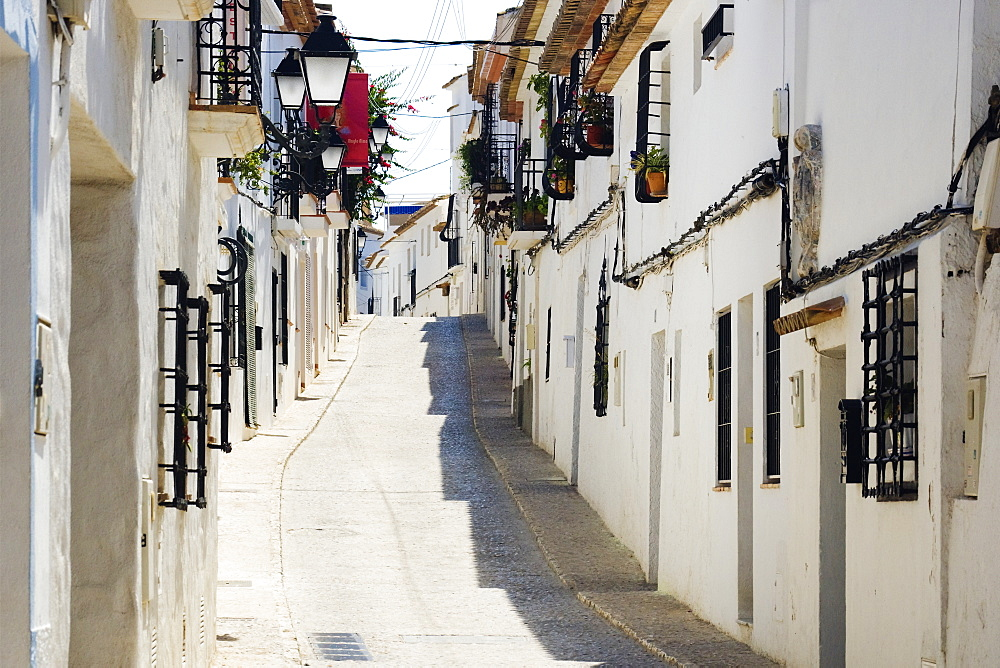 Narrow Street in White Town of Altea, Altea, Valencia, Spain