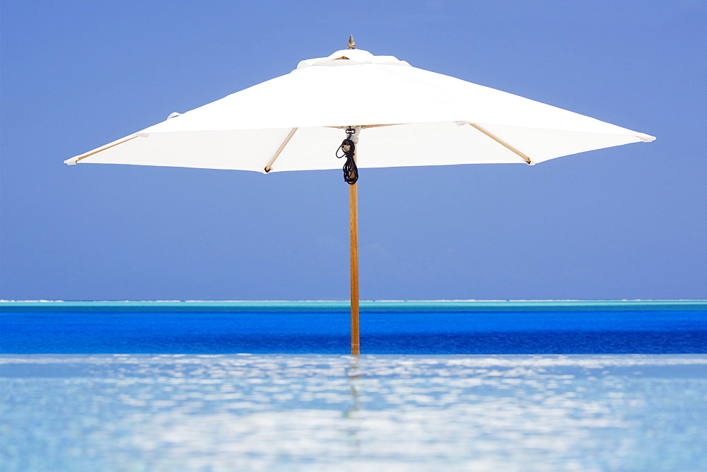 Open Beach Umbrella in Water, Bora Bora, Tahiti, French Polynesia