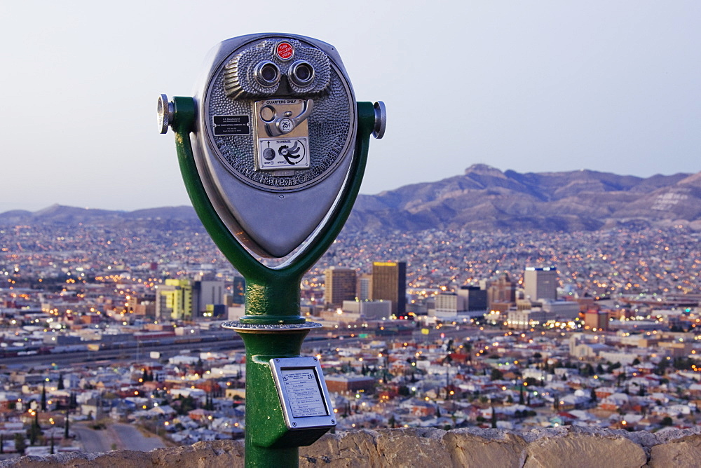 Coin-Operated Binoculars and El Paso Skyline, El Paso, Texas, United States of America