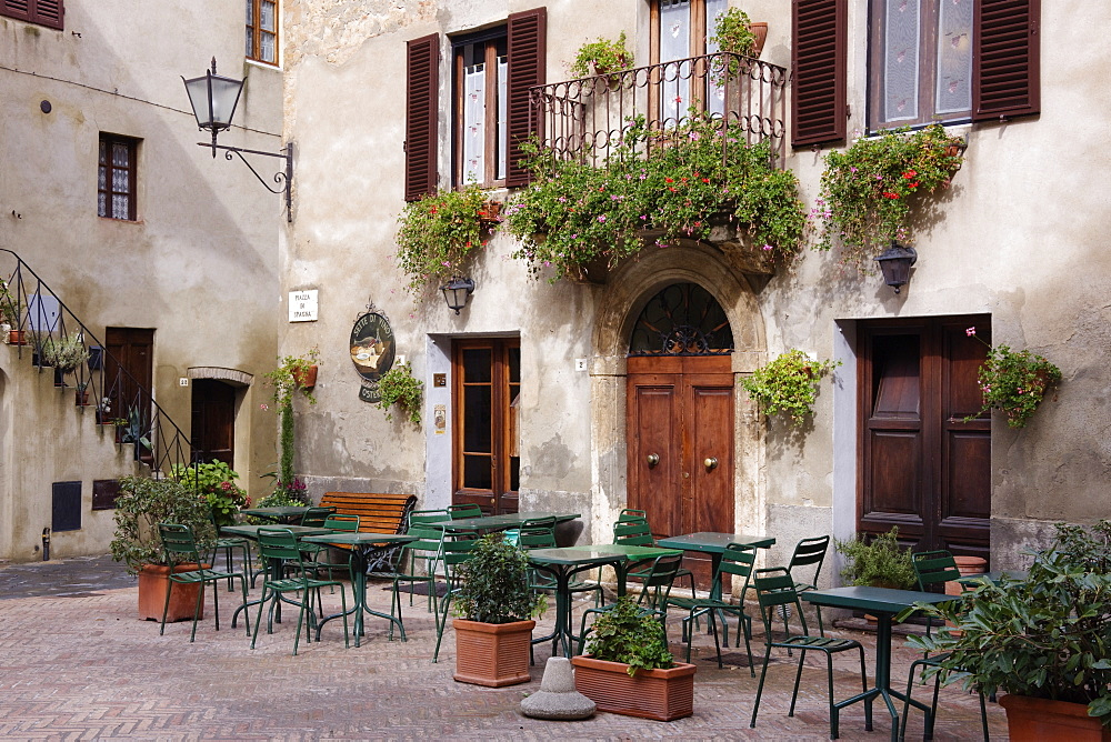 Cafe Seating in the Piazza di Spagna, Pienza, Tuscany, Italy