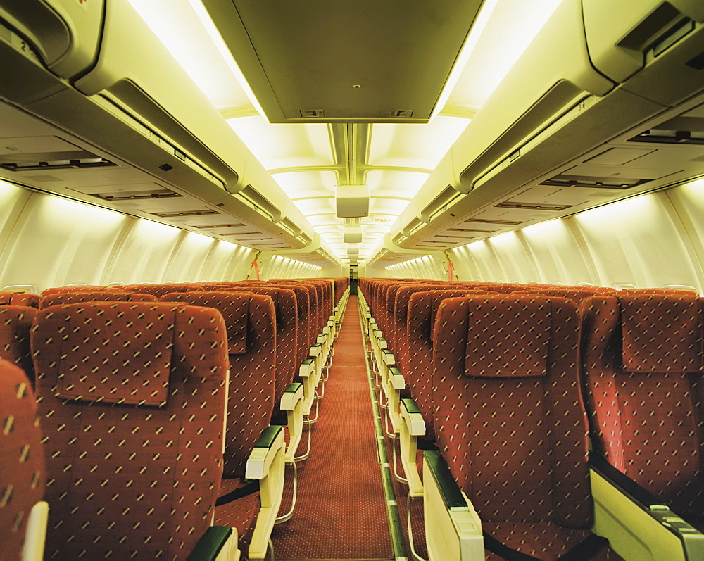 Empty airplane, London, England, UK