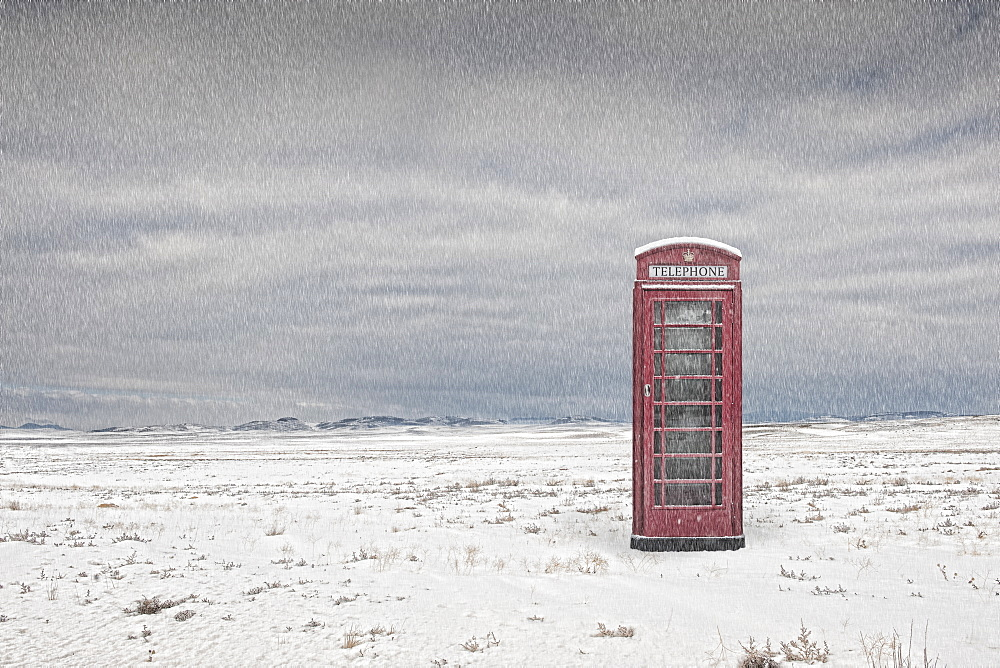 Telephone booth in snowy landscape, Spalding, Links, UK
