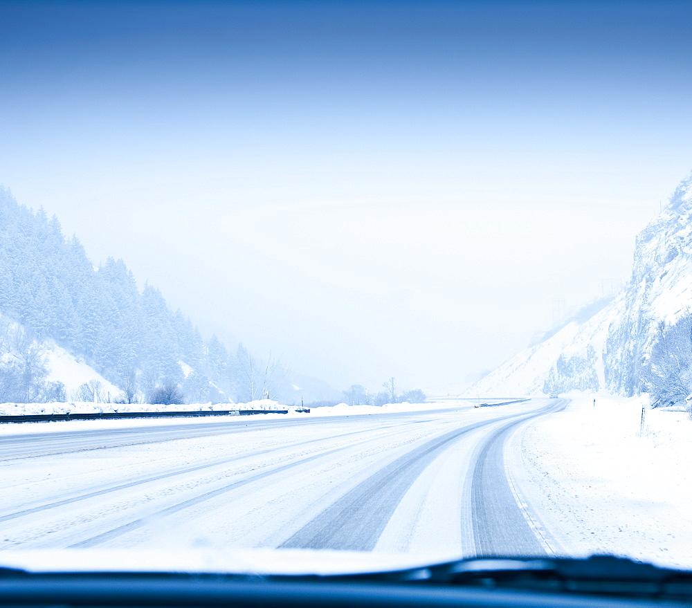 Snow-Covered Road, Park City, Utah, United States of America