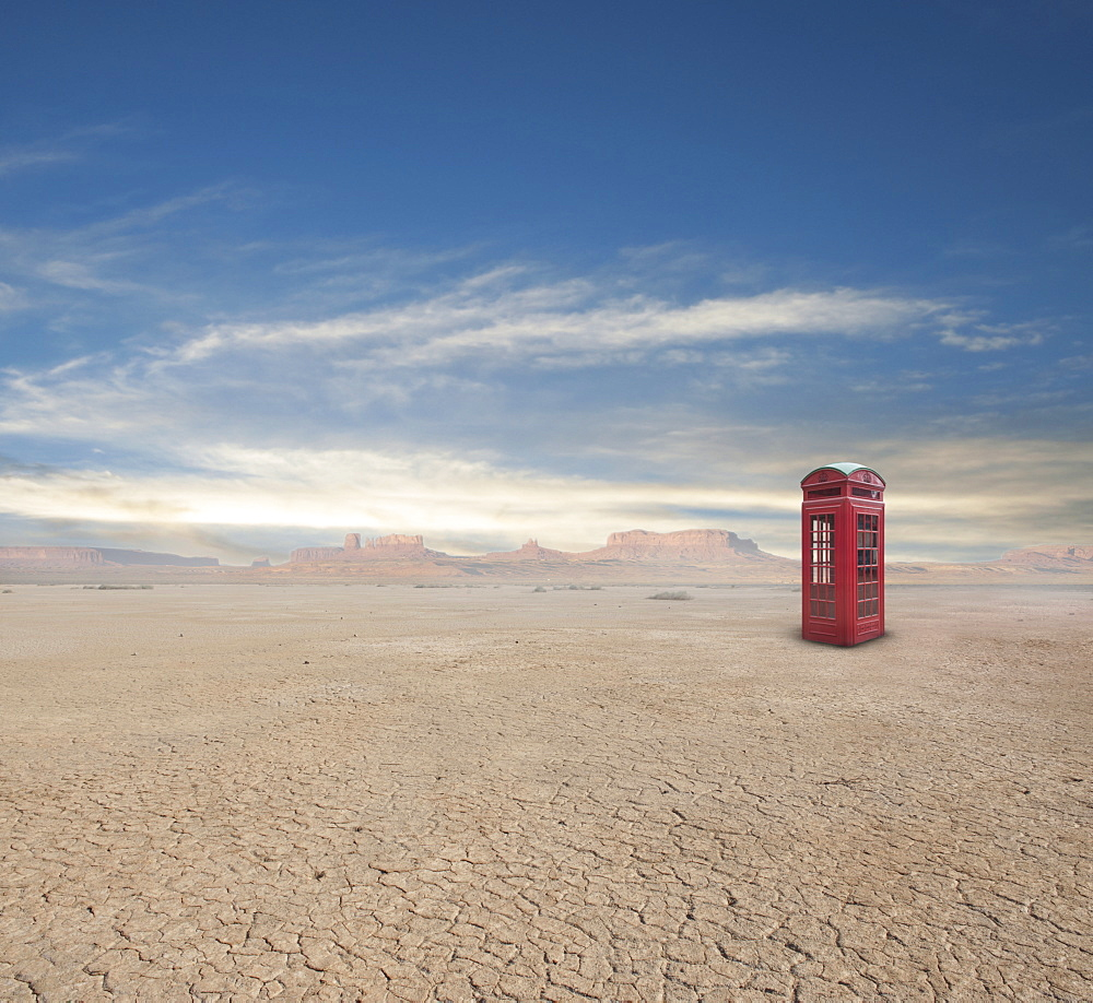 Telephone Box in Desert, Death Valley, California, United States of America