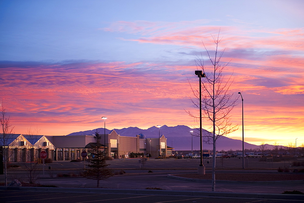 Sunrise over Shopping Center, Alamosa, Colorado, United States of America
