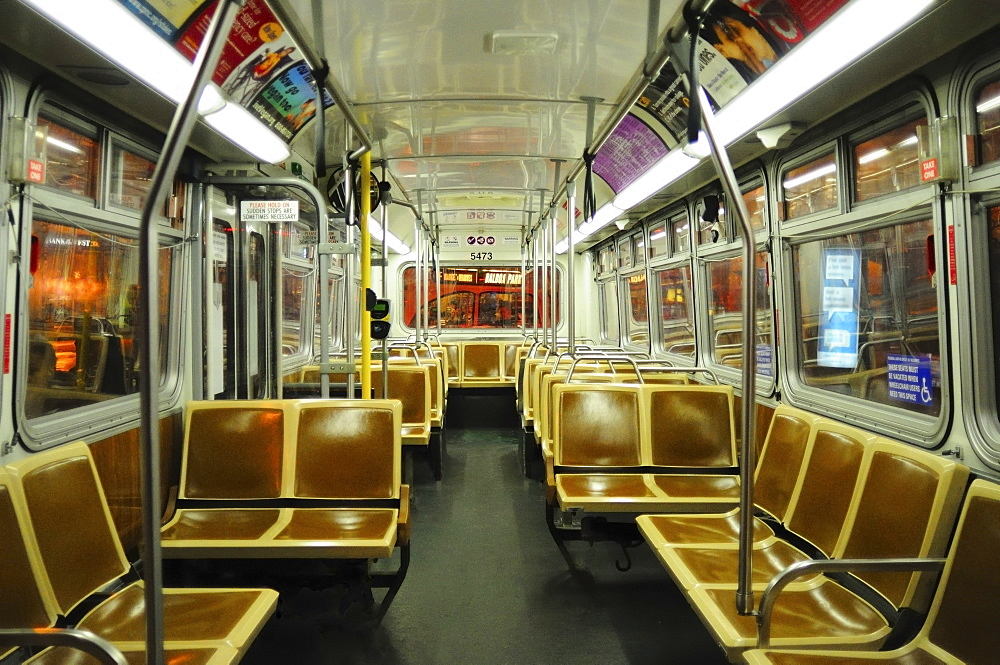 Empty subway car, San Francisco, California, United States of America