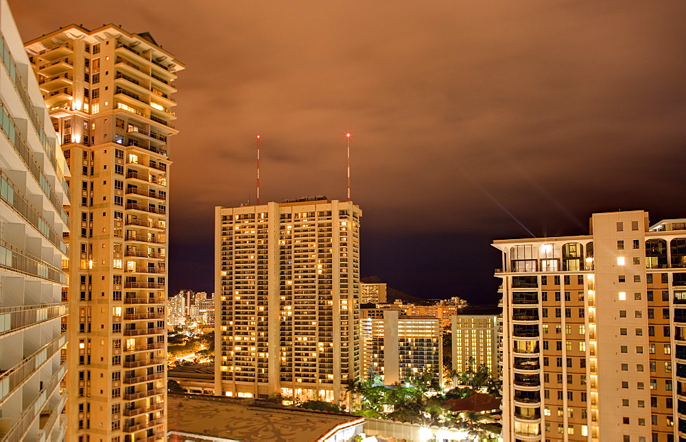 Honolulu Skyline at Night, Honolulu, HI, United States of America