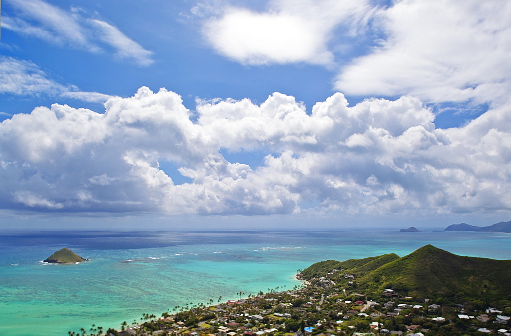 Clouds in blue sky over islands, Hawaii, United States, Hawaii, United States of America