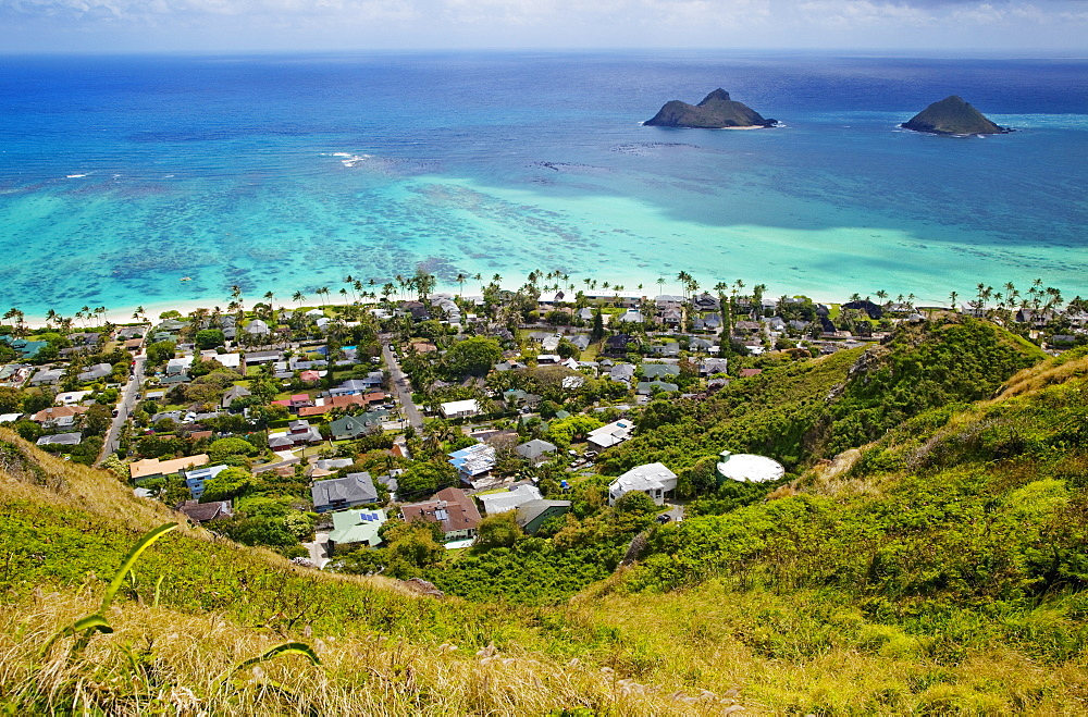 Town of Kailua with Mokulua Islands, Hawaii, United States of America