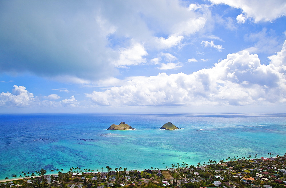 View of the Mokulua Islands, Hawaii, United States of America
