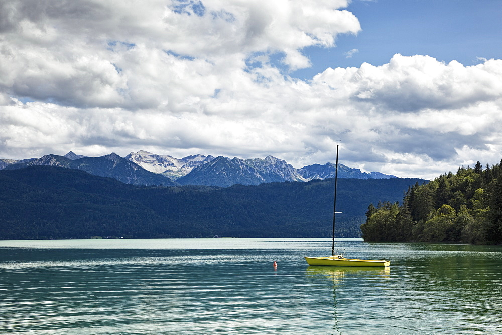 Sailboat Moored in Lake, Walchensee lake, Bavaria, Germany, Europe