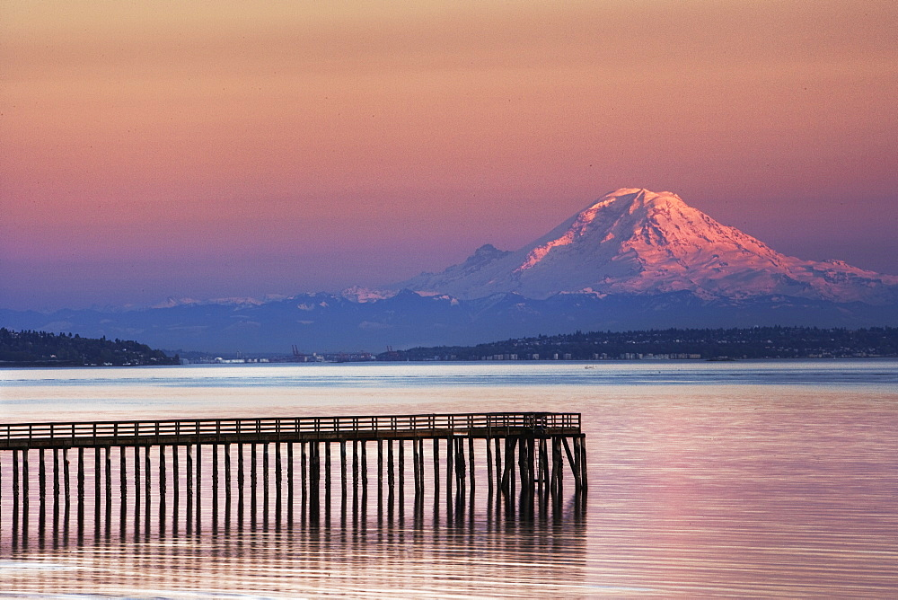 Dock, Pier and Mountain, Indianola, Washington, United States of America