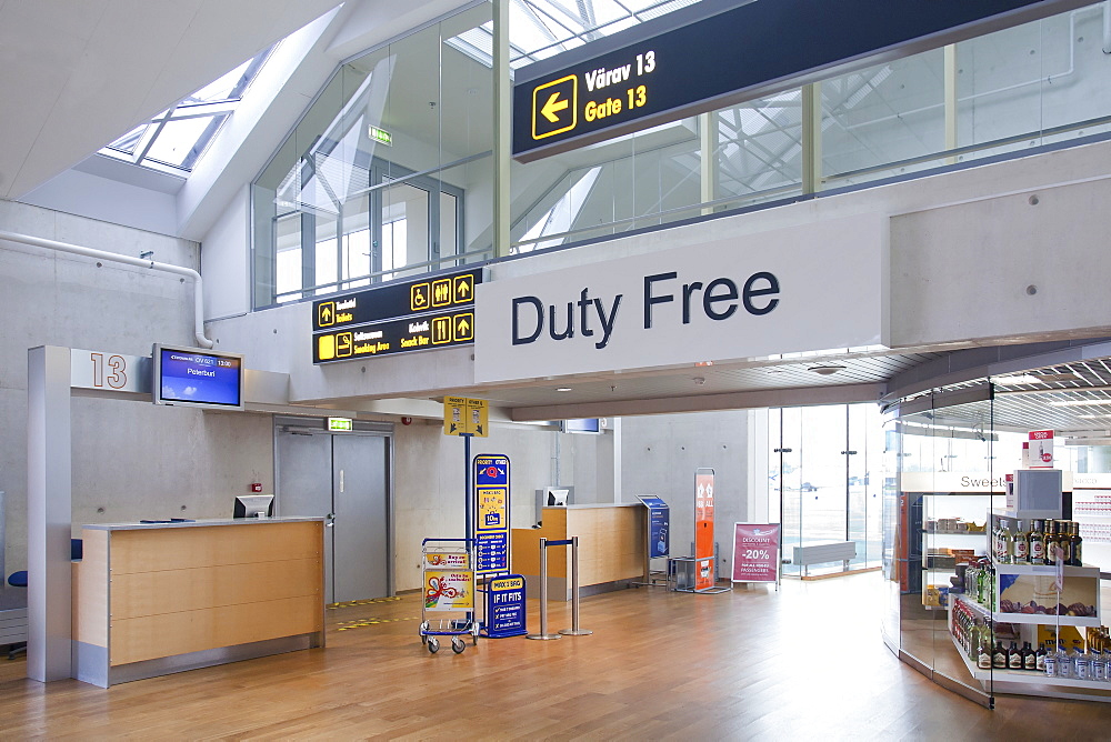 Duty free sign in empty airport, Estonia