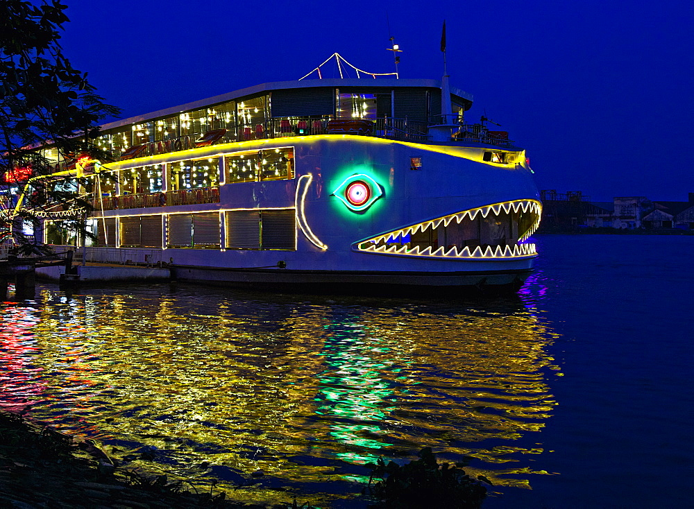 Decorated Boat at Night, Ho Chi Minh City, Vietnam