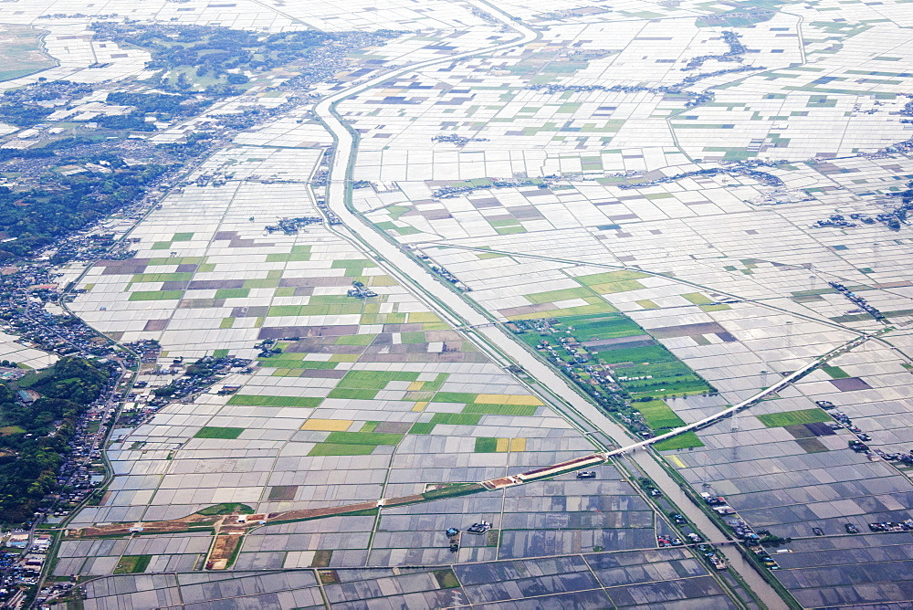 Aerial View of Flooded Farmland, Narita, Japan