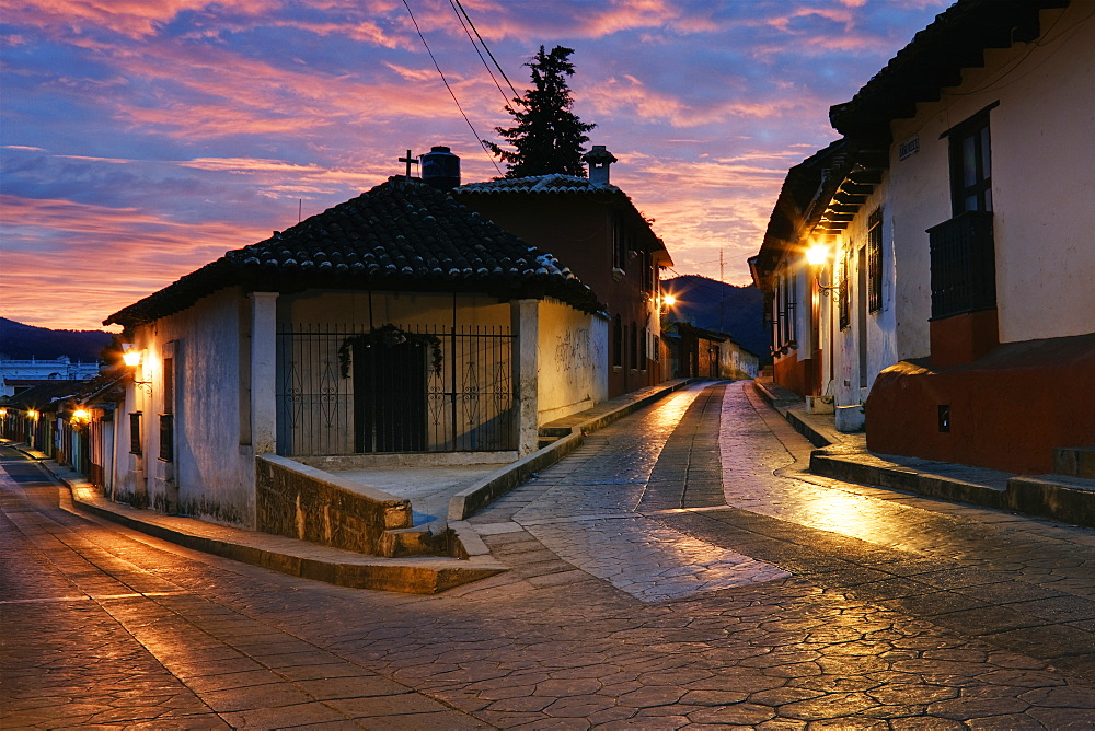 Bisecting Street at Dawn, Chiapas, Mexico