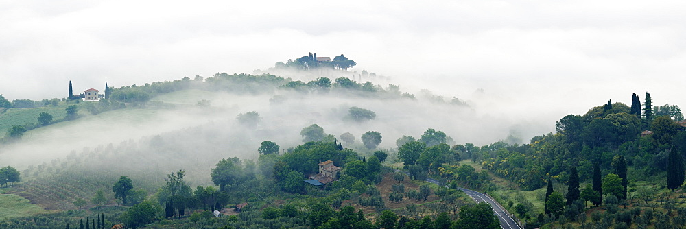 Valley Fog in the Val D'Orcia at Dawn, Rocca d'Orcia, Tuscany, Italy - 1174-5645