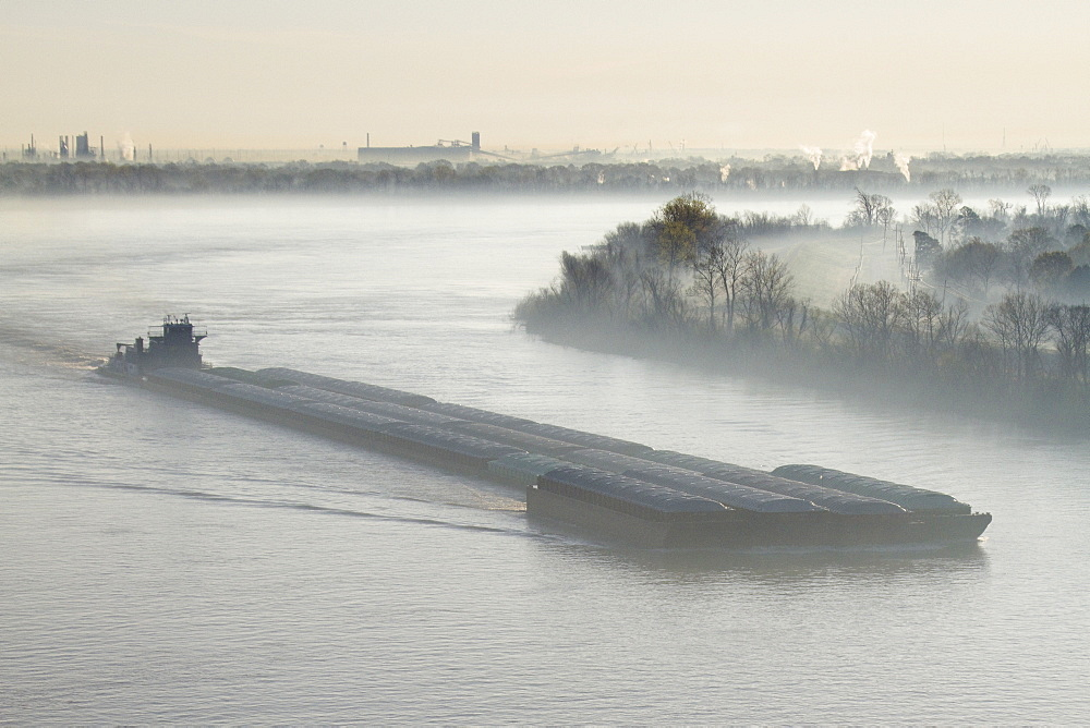 Mist Shrouded River and Tugboat, Louisiana, USA