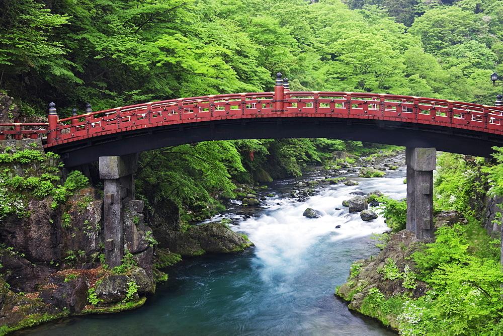 Asian Bridge Crossing a River, Nikko, Japan