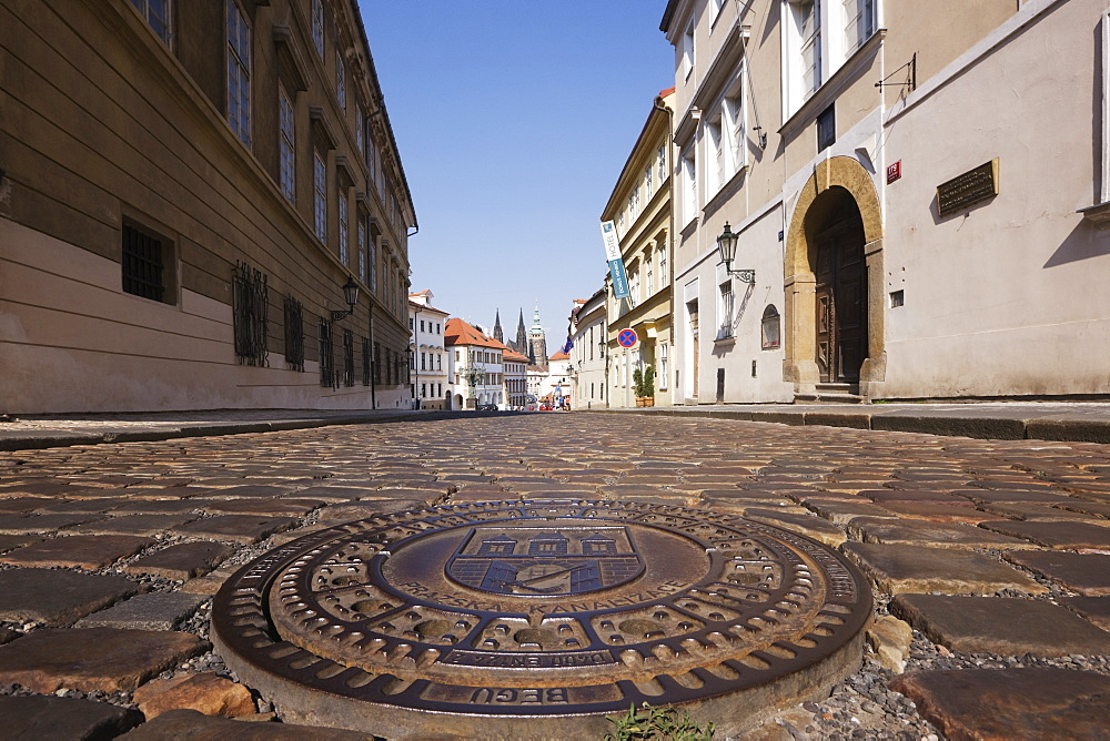 Manhole Cover on a Street in Hradcany, Prague, Czech Republic