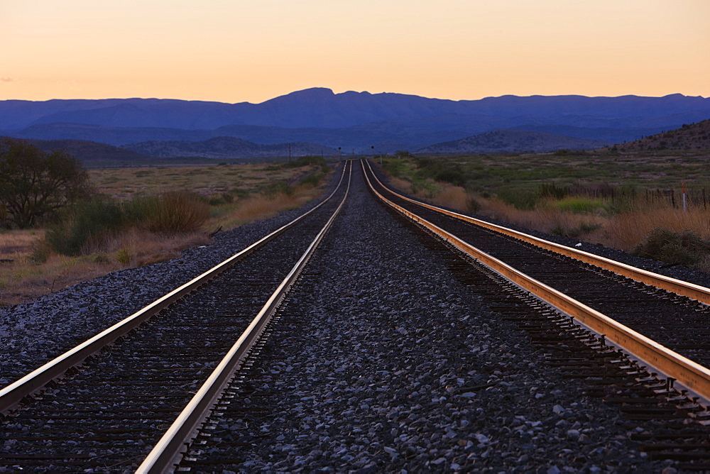 Railroad Lines at Dawn, Alpine, Texas, USA