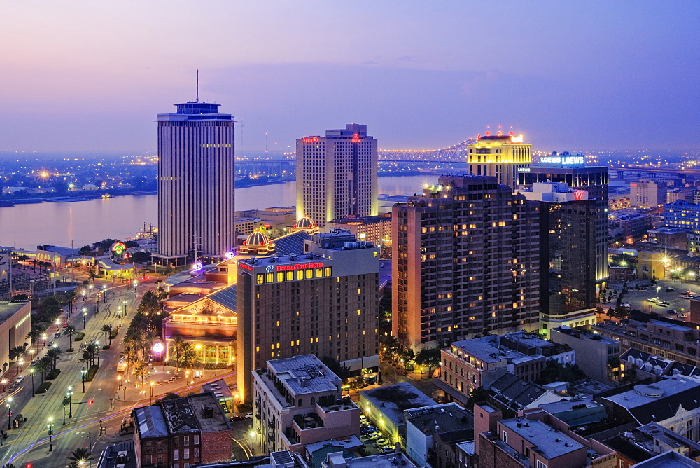 Downtown New Orleans at Dusk, New Orleans, Louisiana, USA