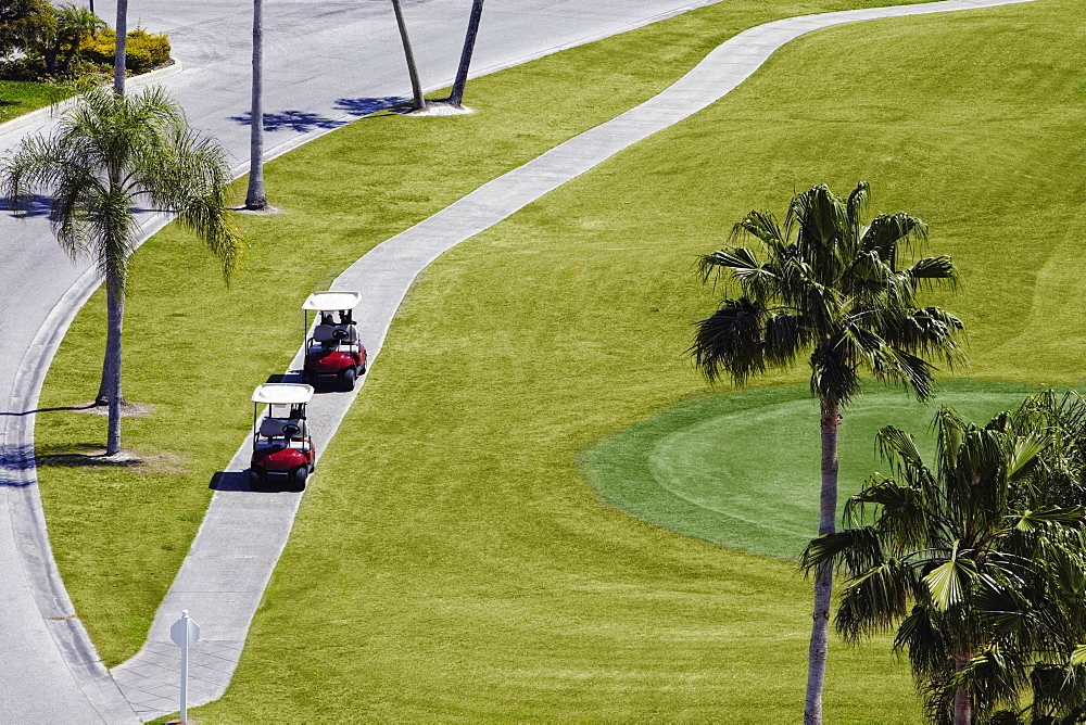 Carts on a Golf Course, Palmetto, Florida, USA