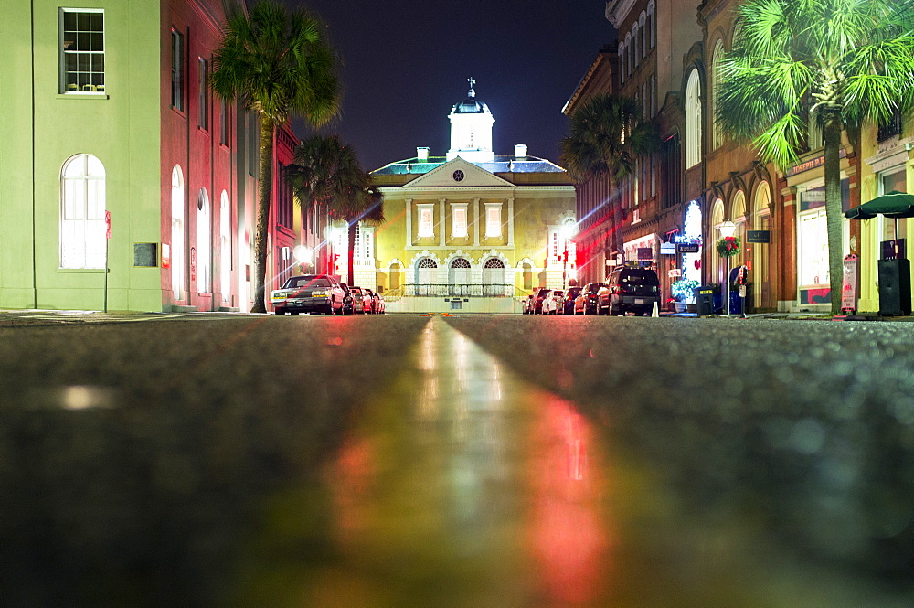 Illuminated buildings along city street at night, Charleston, South Carolina, United States, Charleston, South Carolina, USA