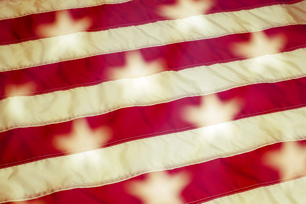 Close up of American flag, Brush Prairie, Washington, USA