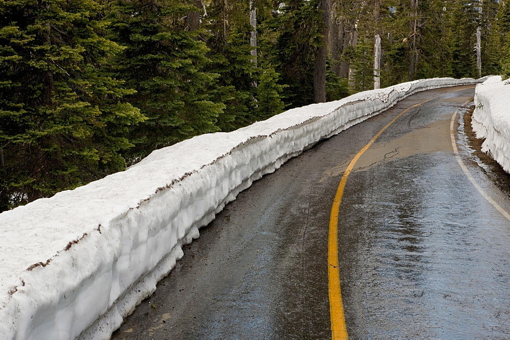 Snow piled up by rural road, Hurricane Ridge, Washington, USA