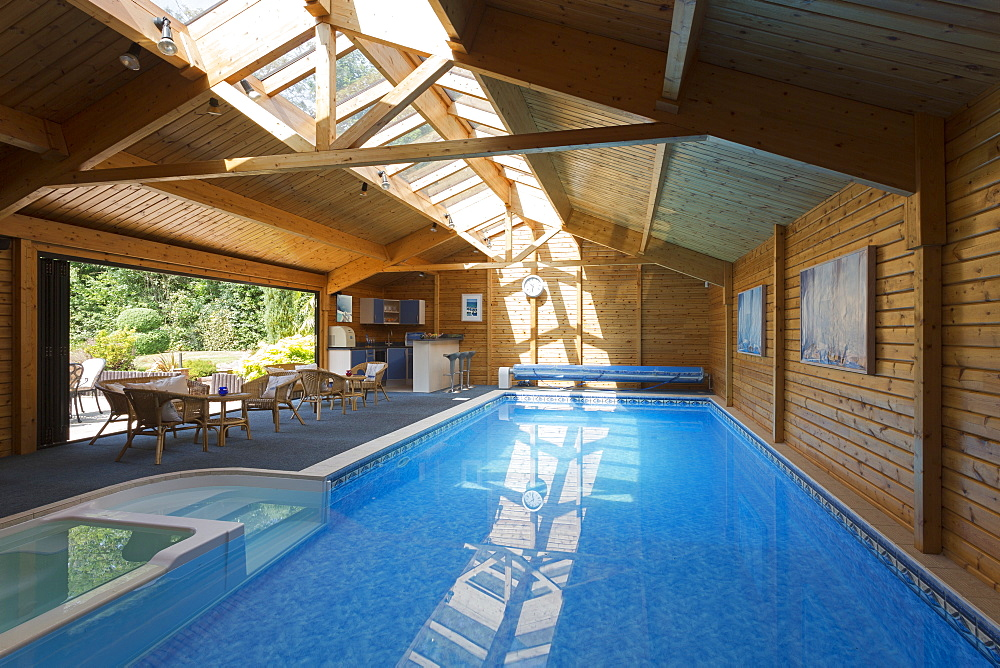 Indoor swimming pool under skylight, Farnham Royal, Buckinghamshire, UK