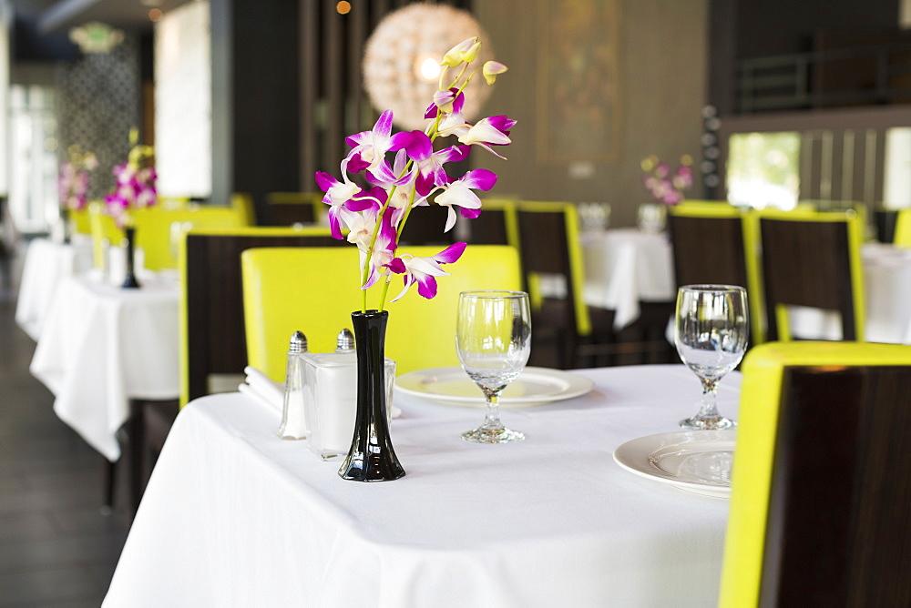 Set table in Thai restaurant, Seattle, Washington, USA