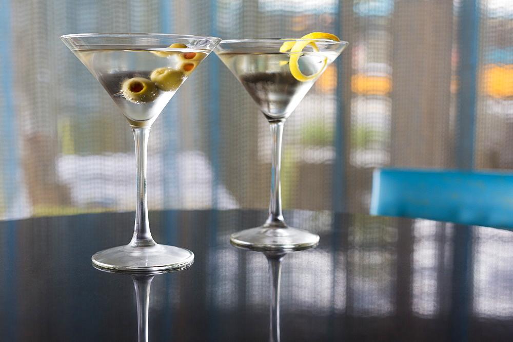Close up of garnished martinis, Seattle, Washington, USA