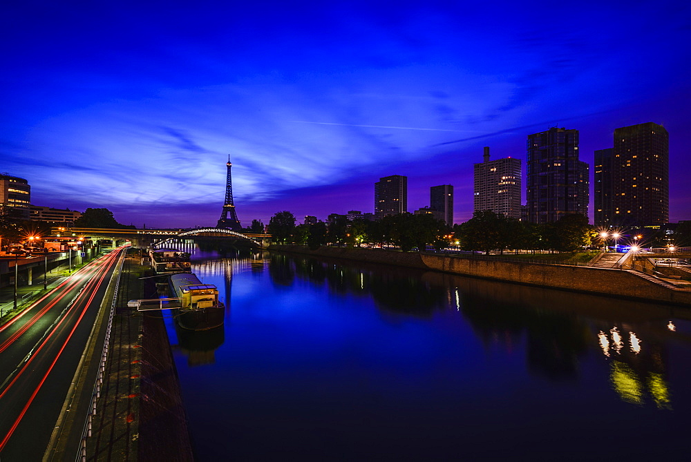 Eiffel Tower and Seine River at night, Paris, France, Paris, France