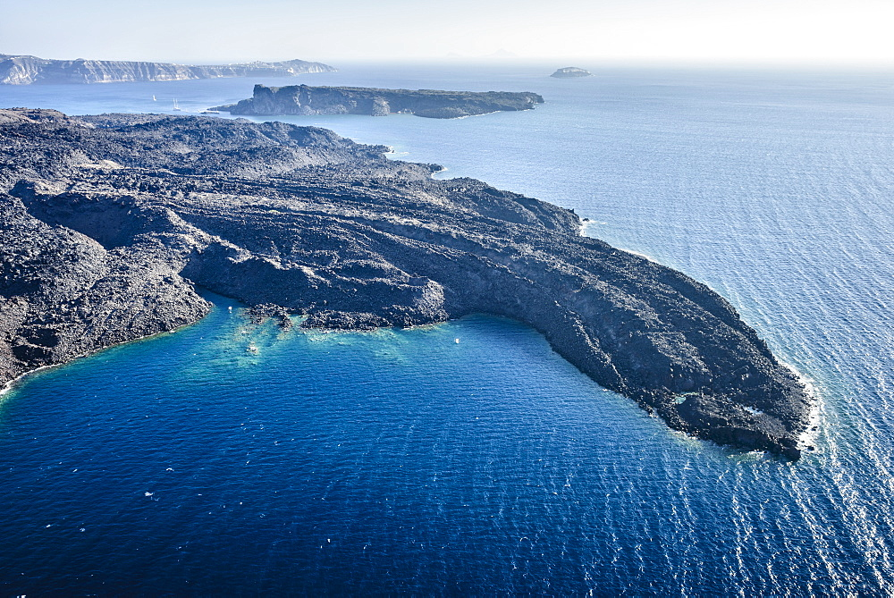 Aerial view of rocky rural coastline, Thira, Egeo, Greece, Thira, Egeo, Greece
