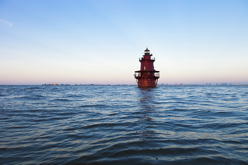 Lighthouse in ocean, Newport News, Virginia, USA