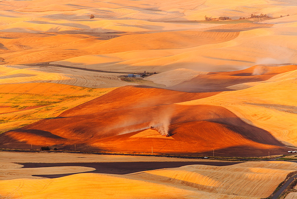 Aerial view of rural farmland, Washington, United States, Rural, Washington, USA