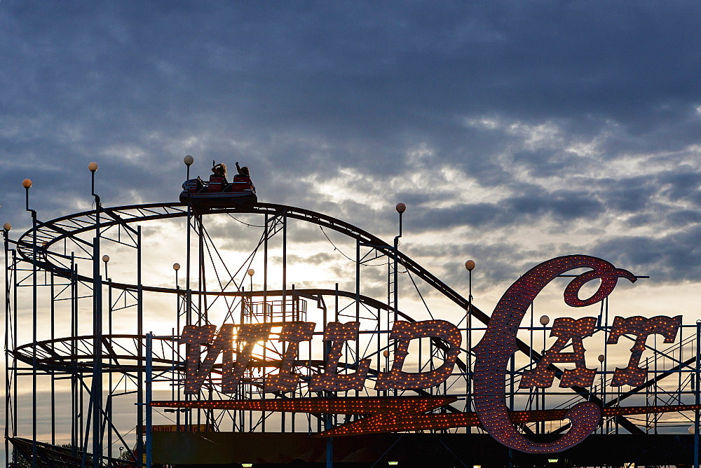 Silhouette of wild cat rollercoaster at Puyallup Fair, Puyallup, Washington, United States, Puyallup, Washington, USA